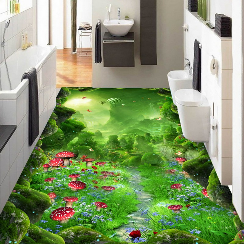 Free shipping custom floor Virgin forest fantastic forest path 3d flooring waterproof self-adhesive photo wallpaper mural free shipping 3d carp lotus pond lotus flooring painting tea house study self adhesive floor wallpaper mural