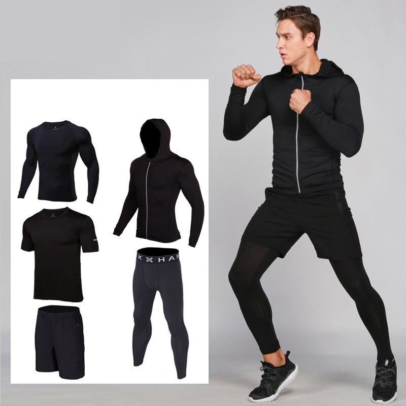 Мужской спортивный костюм Fanceey, Быстросохнущий Спортивный костюм для фитнеса, 5 шт.
