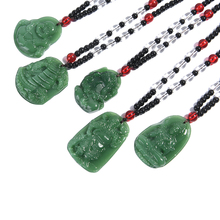 Green Natural Stone Lucky Amulet Necklace Pendant Hand Carved Jewelry Gift for Women Men недорого