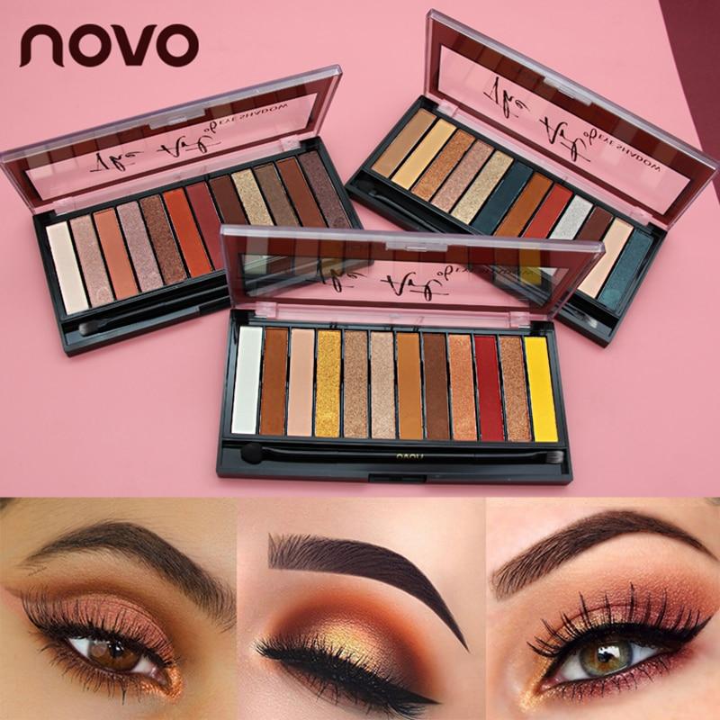 NOVO 10Colors Eyeshadow Palette Matte Nude Glitter Eye