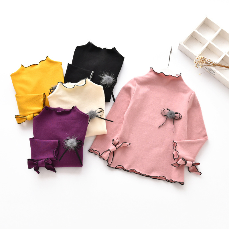 Clearance!!! Floral Knit Children Girls Blouse Kids Full Sleeve Shirt Petal Knitted Clothing Solid Long Sleeve Shirt for Girls