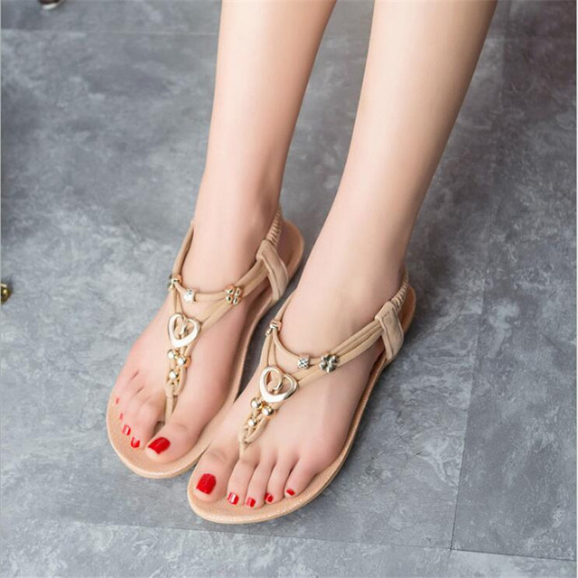 POADISFOO 2017 New summer Beach sandals with beads accessories female  Flip Flops  hasp high quality sandals For Women .HYKL-866
