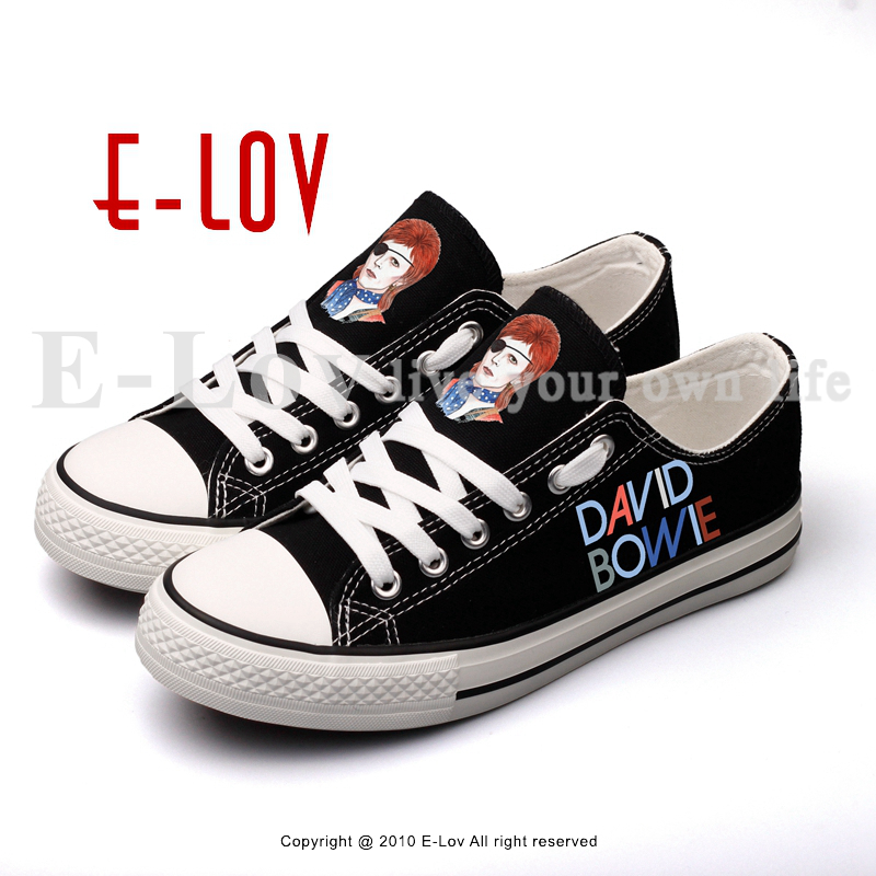 E-LOV Rock Band Printed Canvas Shoes Lace-up Men Casual Flat Shoes Espadrille Unisex Lovers Shoe brand quality the walking dead canvas shoes printed women casual flat shoes diy couples and lovers valentine gifts graffiti shoe