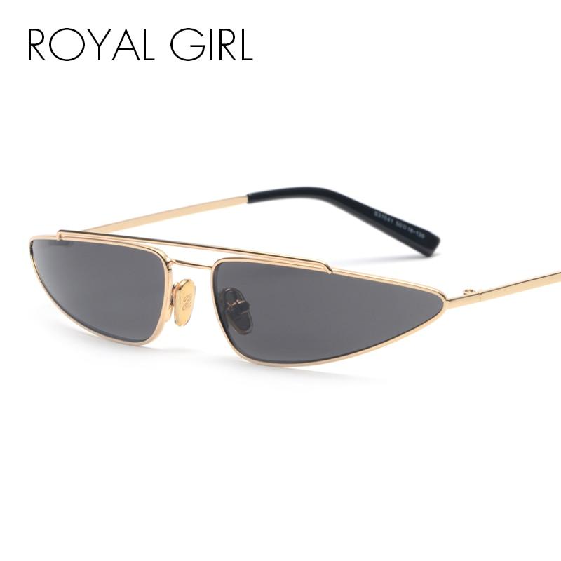 ROYAL FILLE Petit Triangle Cat Eye lunettes de Soleil Femmes Métal Cadre  Double Pont Haute Qualité 6827fab3164d