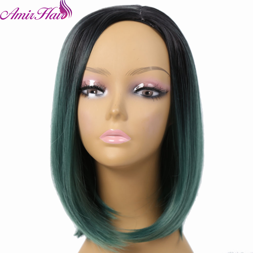 Amir Hair 14inch Synthetic Short Ombre Green BoBo Wig with 6 Colors Available for Choose Wigs For Black Women Cosplay or Party