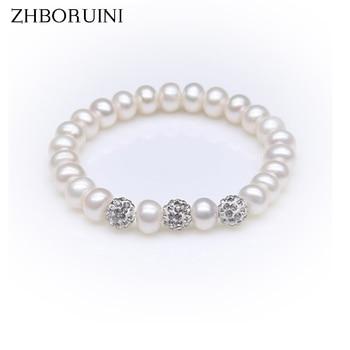 0b2c7688d442 ZHBORUINI pulsera del encanto de la joyería de La Perla bola de cristal  pulseras de perlas naturales de agua dulce de la joyería de la plata  esterlina 925 ...