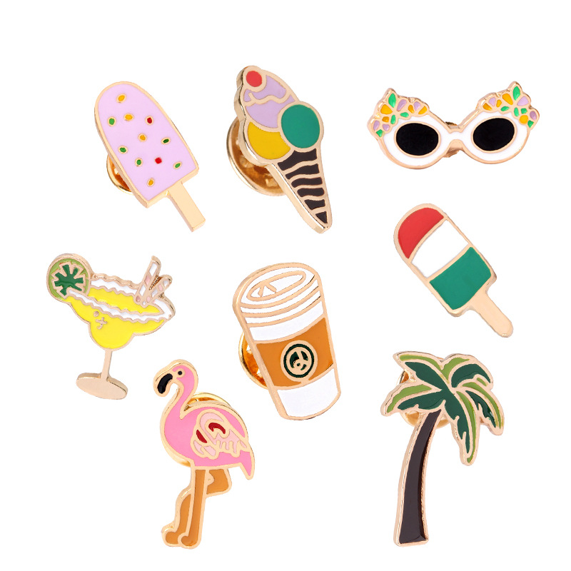 Arts,crafts & Sewing Xinaher 1 Pc Cute Flamingos Roller Skates Brooch Button Pins Denim Jacket Pin Jewelry Decoration Badge For Clothes Lapel Pins Badges