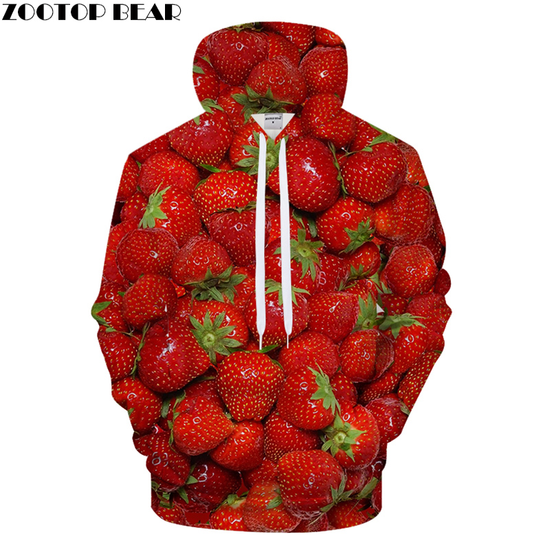 Strawberry Hoodies 3D Print hoodie Men Women Hoody Autumn Sweatshirt Harajuku Tracksuit Streatwear Pullover Brand Coat Dropship