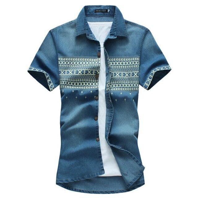 f815e36732b0d23 Футболки продажа новый летний стиль мужские джинсовые мода цветок печать мужская  рубашка camisa masculina тонкой коротким