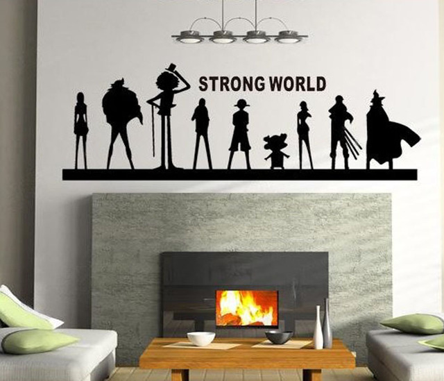 2016 One Piece Anime Vinyl Stickers Home Decor Wall Art Bedroom/livingroom  Quotes Strong World