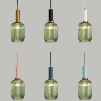Moderne Industrie Frische Streifen Glas E27 LED Anhänger Lampe Für Küche Wohnzimmer Schlafzimmer Bad Studie Lobby Hotel Restaurant