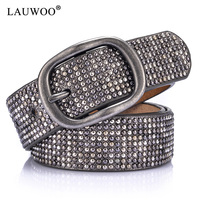 LAUWOO Hot Sale Inlaid Rivets Pin Buckle Thin Female Belts For Women Ms Clothing Cummerbunds Fashion