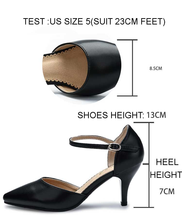 YALNN Spring Summer Basic Women Pumps Shoes Shallow Buckle Strap Thin Heels Pointed Toe for Leisure Office Career Shoes Women 6