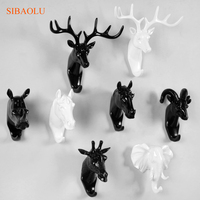 Creative 3D Animal Mural Hook Decorative Animal Head Hanger Rack For Key Caps Clothes Home Wall Decoration