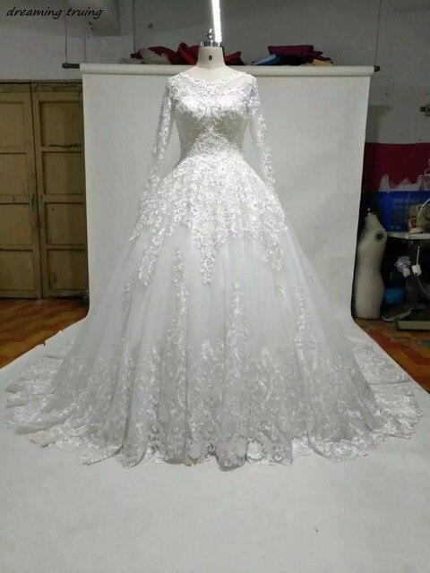 2018 Vintage Vestidos De Novia Luxury Lace Wedding Dress With Long ...