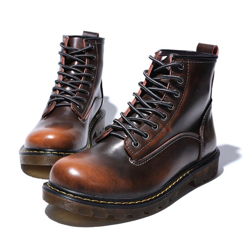 Ботинки; мужские Ботильоны; зимние кроссовки из натуральной коровьей кожи; нескользящая Водонепроницаемая Рабочая обувь - 4