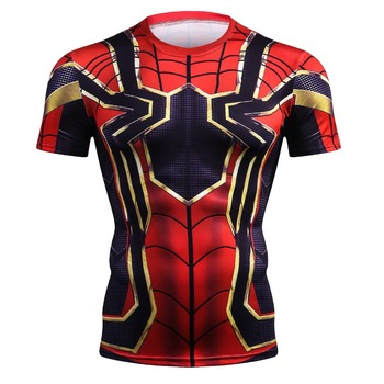 Fer Spider-Man 3D impression T-shirts hommes Compression chemises super-héros hauts costume à manches courtes Fitness Crossfit T-shirts