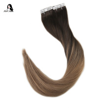 Full Shine Ombre Color  2.5g Per Piece 40 pieces 100% Real Remy Human Hair Balayage Tape in Extensions Brown Blonde