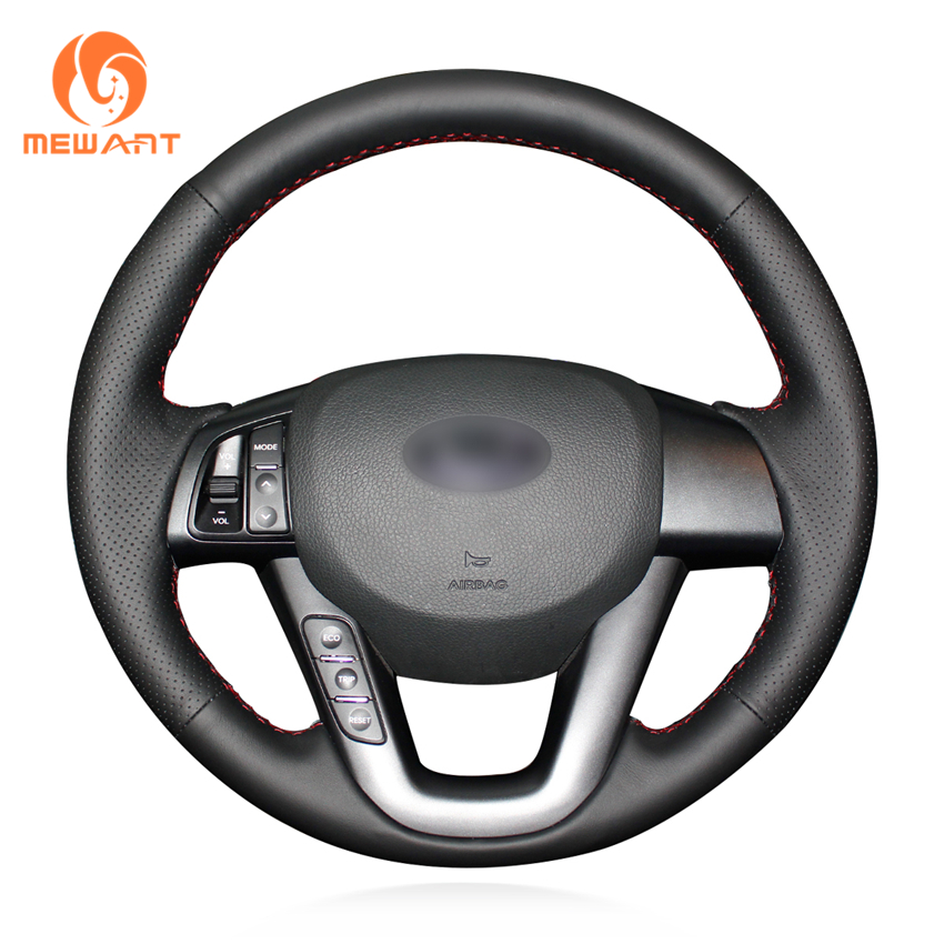 MEWANT Black Artificial Leather Car Steering Wheel Cover for Kia K5 2011 2012 2013 Kia Optima ветровики korea kia optima 3 k5 2013