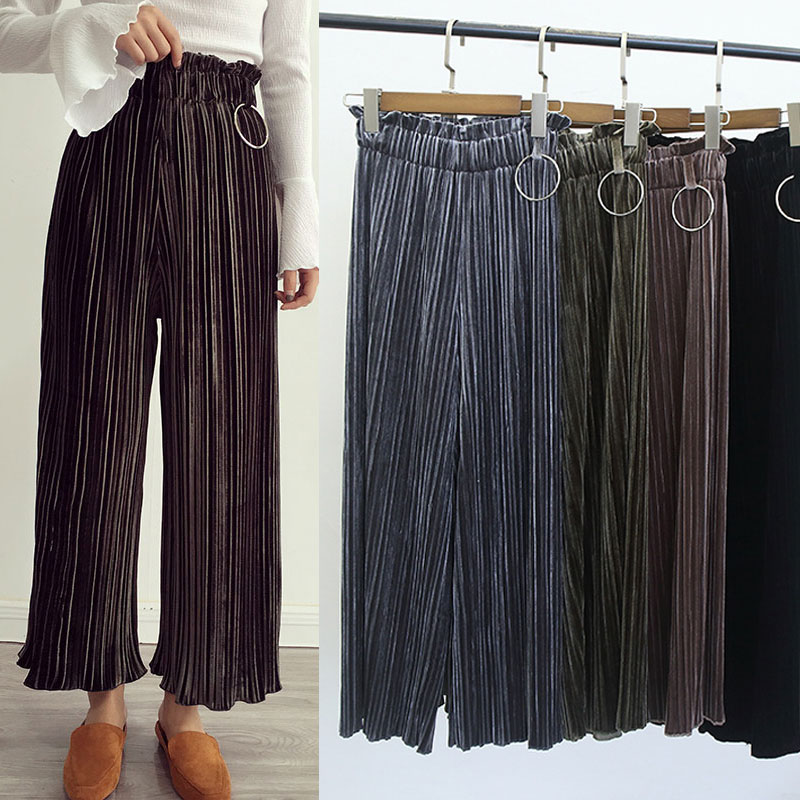 Elegant  Gt Women Gt Pants Gt Fashion Pleated Chiffon Loose Fit WideLeg Pants