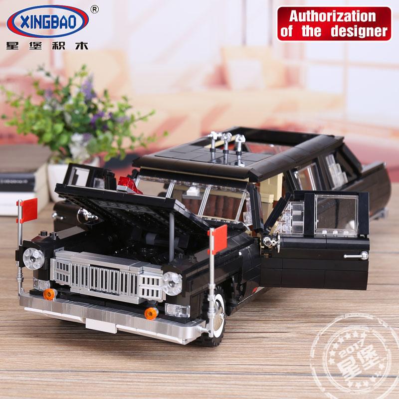 все цены на XINGBAO 03003 2327Pcs Block Genuine Creative MOC Technic Series The HongQi Master Car Set Building Blocks Bricks Toys Model онлайн