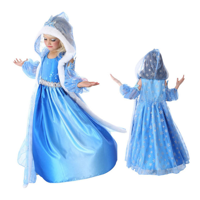 2017 New Summer Girl Ice Snow Queen Dress Children Anna Elsa Hooded Dress Toddler Princess Party Clothes Kids Cosplay Costume