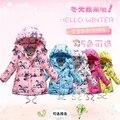 Meninas Casaco de Inverno Nova Marca Com Capuz Padrão de Borboleta Meninas Crianças Jaqueta de Inverno Para Baixo Casaco Fashion Crianças Jaquetas para Meninas