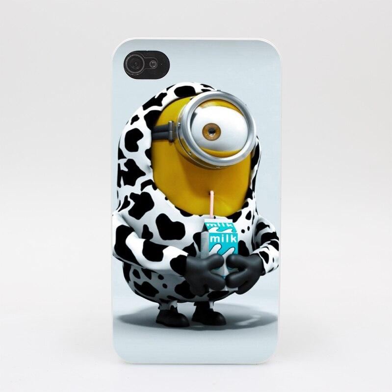 351GS Minions Milk Hard White Case Cover for iPhone 4 4s 5 5s 5c SE 6 6s Plus Print