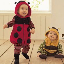 Polar Fleece Baby Rompers Ladybug Bee Costumes toddler  Tights Winter baby Clothes 1pcs/lot
