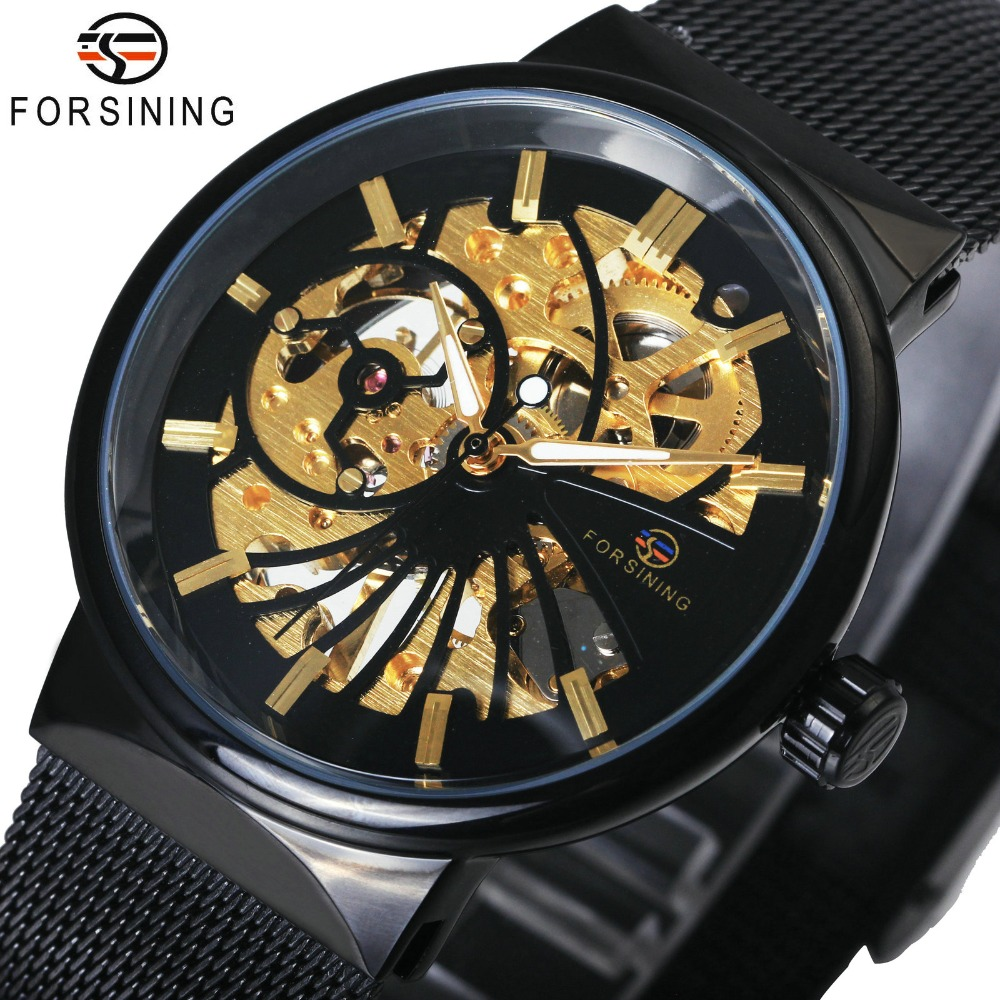FORSINING Top Brand Luxury Golden Watches for Men Automatic Mechanical Movement Mesh Strap Ultra Thin Stainless Steel BandFORSINING Top Brand Luxury Golden Watches for Men Automatic Mechanical Movement Mesh Strap Ultra Thin Stainless Steel Band