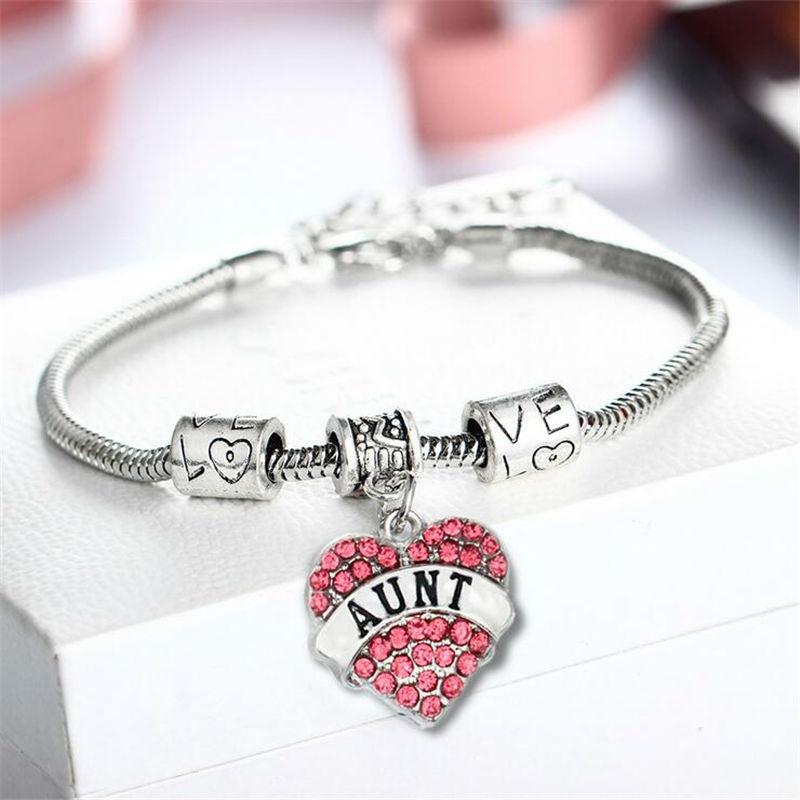 Engraved Aunt Family Gifts Love Heart Rhinestone font b Crystal b font Charm Pendant Tibetan Silver