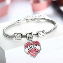 Engraved Word Aunt Family Gifts Love Heart Rhinestone Crystal Charm Pendant Tibetan Silver Bangle Bracelet Party