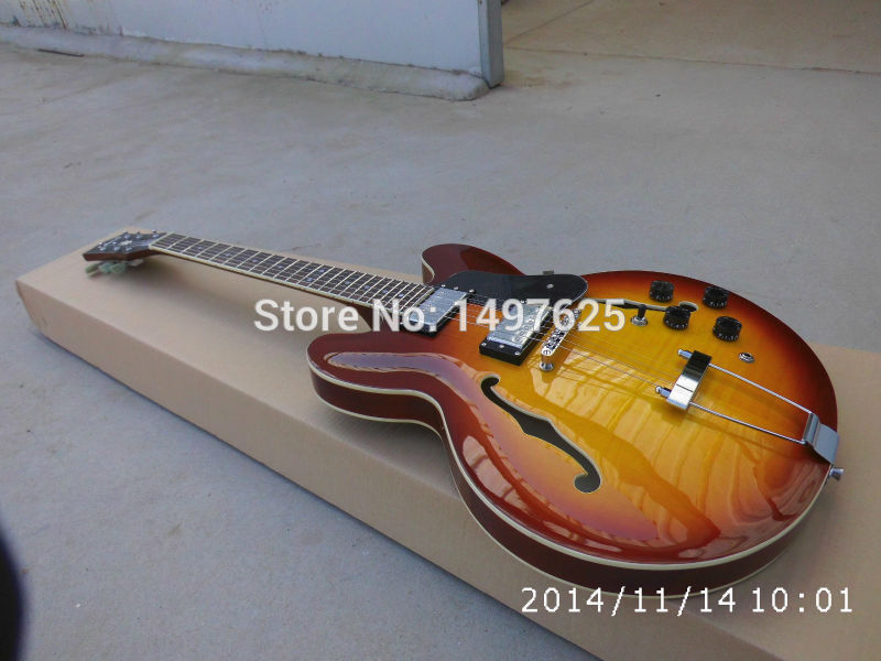 Electric guitar ES335 jazz guitarra/lp custom honeyburst color/hollow electric guitar/oem guitar in china china s oem firehawk custom shop electric guitar lp color shell inlays color binding double water ripple