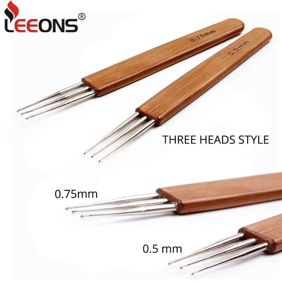 Leeons 3 Pcs Bambus Haar Weben Häkeln Nadeln Haken Dreadlocks Haar Zubehör 1/2/3 Haken Nadeln Dreadlock perücke Machen Werkzeuge