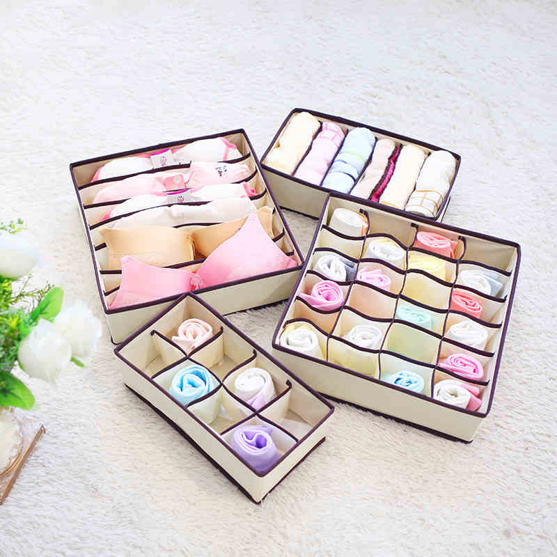 4PCS Underwear Storage Boxes For Bra Underwear Tied Sock Scarves Divider Drawer Closet Organizer Case Drawer Finishing Container
