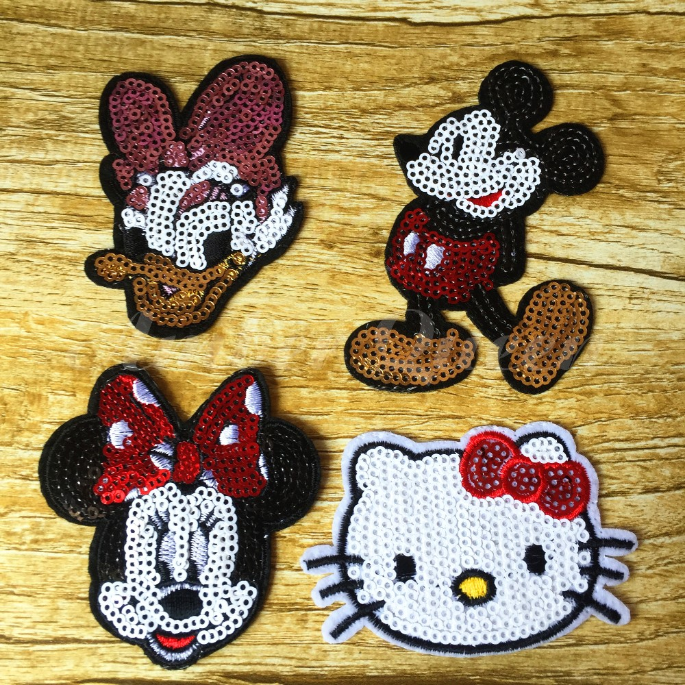 Hot Sale Cartoon Cloth Sequined Patches 8pcs/lot Mickey Mouse/Minnie/Daisy/Hello Kitty Garment Applique DIY Accessories