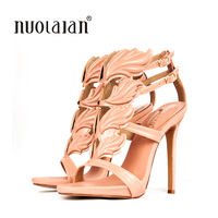 2018 New Arrival Women Open Toe Sandals Gold Leaf Sandal Ankle Strap Gladiator Sandals Summer Shoes Woman Sandalias Ladies Shoes