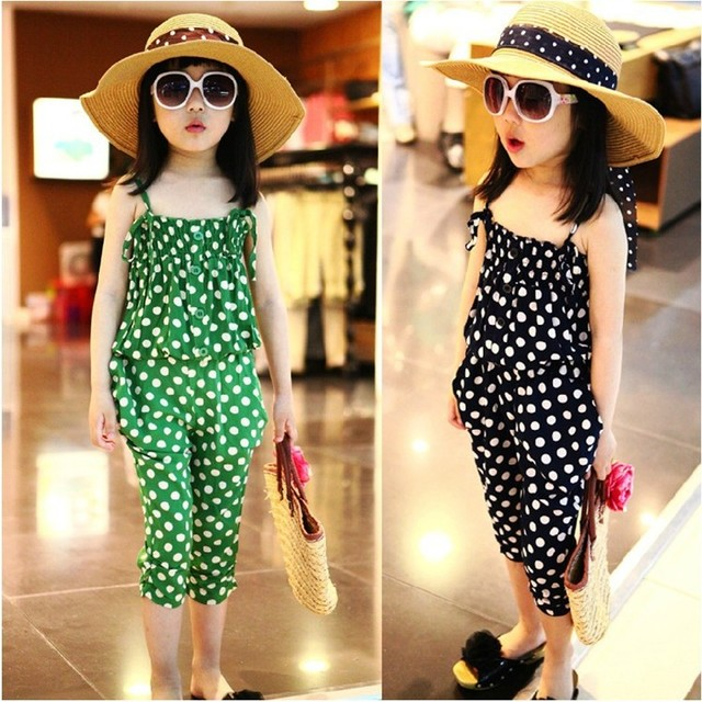 Female child summer 2013 baby child spaghetti strap top harem pants casual sports set