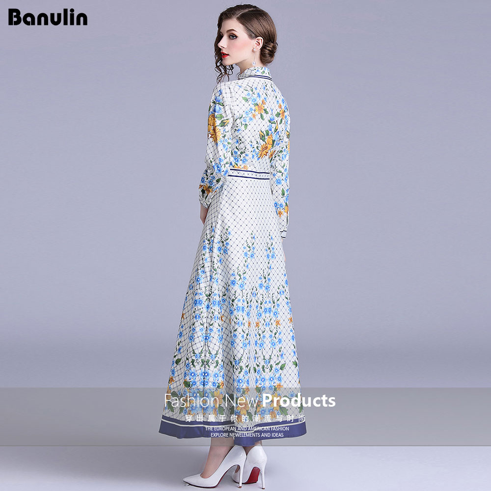 3729bbd185fc Runway Designer Maxi Dress Women 2018 Robe Longue Femme Summer Dress Shirt  Work Casual Floral Print Long Sleeve Long Dresses-in Dresses from Women s  ...