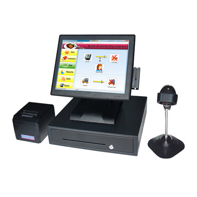 Best Price 2119 15 Inch Touch Screen Cash Register Touch Cash Register Cashier Printer Scanner Cash Drawer Machine VFD POS System