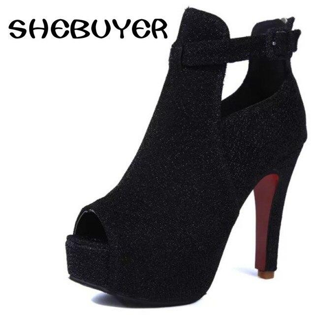 cce965aa2d476 2016 sexy femmes bottes à hauts talons poisson bouche chaussures d été gris  noir couleur
