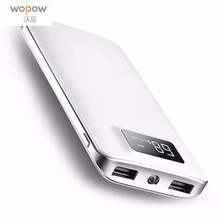 Wopow Ultra Thin Power Bank Large Capacity 8000mAh Double USB Digital LCD Display Battery LED Torch for Mobile Phone