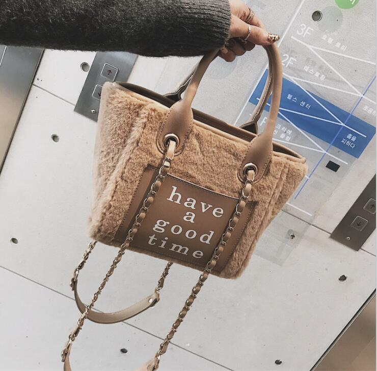 Winter Fur Letters Tote Chain Handbag Bag Women Crossbody Bag Female Shoulderbag #280 1