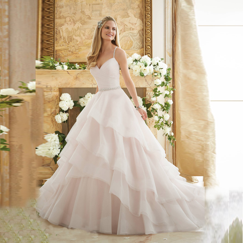 Dreamy light pink organza wedding dress chapel train for Pink ruffle wedding dress