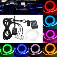 RGB Ambient Light LED Atmosphere Light 8 colors DIY For Car Interior Neon Strip Optical Fiber Super Bright Decorative Lamp 12V