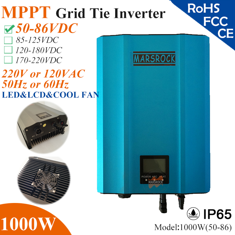 1000W MPPT solar Grid Tie Micro Inverter with IP65,50-86VDC,220V(190-260VAC) or 120V(90-140VAC),LED&LCD for solar panel system 5000w single phrase on grid solar inverter with 1 mppt transformerless waterproof ip65 lcd display multi language