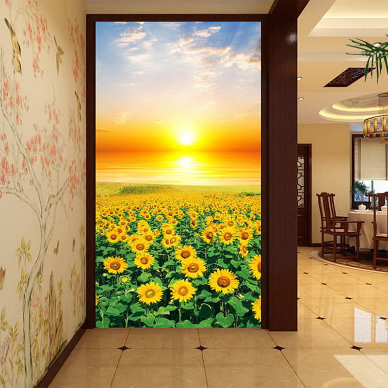 3D Wall Mural Sunset Sunflowers Field Photo Wallpaper Scenery For Walls Countryside Styl Living Room Entrance Wall Paper Custom