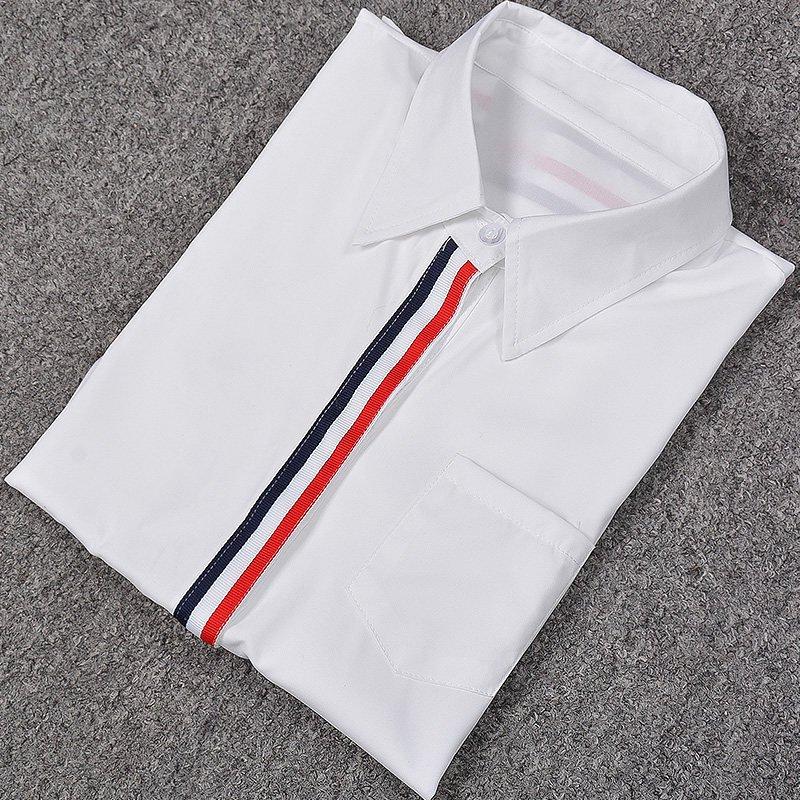 Fesyen OL Striped Long Sleeve Lapel Shirt Button kasual Down Tops - Pakaian wanita - Foto 4