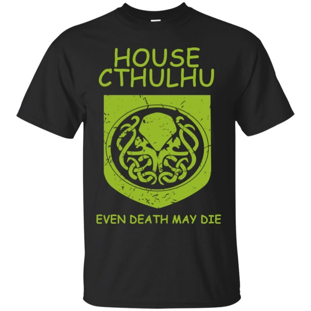 Black   T     shirt  - House Cthulhu even death may die   T  -  shirt   - size S-6XL