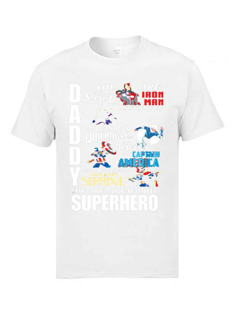 306a567db48e ... Classic Daddy Superhero T Shirt Ironman Captain American Doctor Strange  Marvel Cool Tshirts DC Comic 100 ...